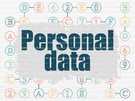 personal data: Data concept: Painted blue text Personal Data on White Brick wall background with Scheme Of Hexadecimal Code, 3d render
