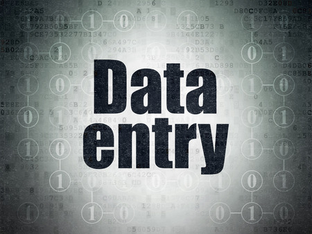 data entry: Information concept: Painted black text Data Entry on Digital Paper background with  Scheme Of Binary Code, 3d render Stock Photo