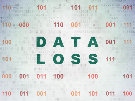 data loss: Information concept: Painted green text Data Loss on Digital Paper background with Binary Code, 3d render