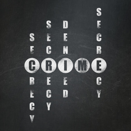 crime solving: Privacy concept: Painted White word Crime in solving Crossword Puzzle on School Board background, 3d render