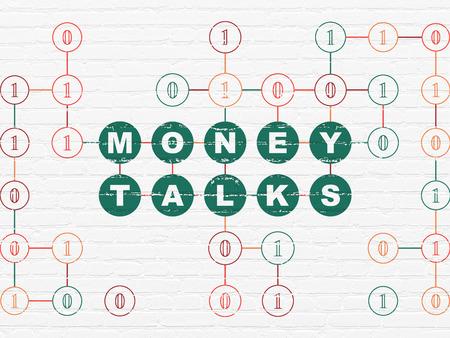 conversaciones: Concepto de las finanzas: Pintado verdes Money Talks texto sobre fondo blanco de la pared de ladrillo con el c�digo binario, 3d