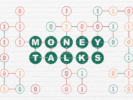 talks: Finance concept: Painted green text Money Talks on White Brick wall background with Binary Code, 3d render Stock Photo