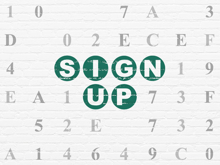 up code: Web design concept: Painted green text Sign Up on White Brick wall background with Hexadecimal Code, 3d render Stock Photo