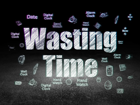 dirty room: Time concept: Glowing text Wasting Time,  Hand Drawing Time Icons in grunge dark room with Dirty Floor, black background, 3d render