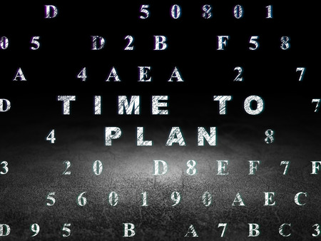 dirty room: Time concept: Glowing text Time to Plan in grunge dark room with Dirty Floor, black background with Hexadecimal Code, 3d render