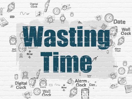 wasting: Time concept: Painted blue text Wasting Time on White Brick wall background with Scheme Of Hand Drawing Time Icons, 3d render Stock Photo