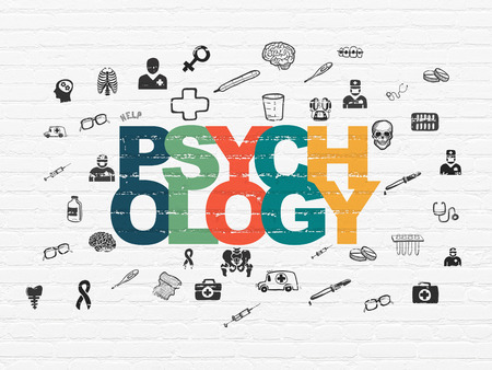 psychology: Health concept: Painted multicolor text Psychology on White Brick wall background with  Hand Drawn Medicine Icons, 3d render