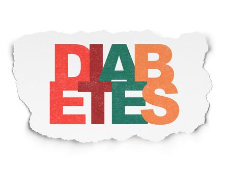 diabetes: Concepto de la salud: pintada multicolor texto de la Diabetes el fondo de papel rasgado, 3d