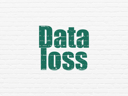 data loss: Information concept: Painted green text Data Loss on White Brick wall background, 3d render