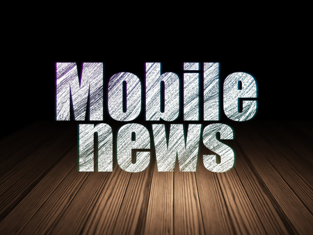 news room: News concept: Glowing text Mobile News in grunge dark room with Wooden Floor, black background, 3d render Stock Photo