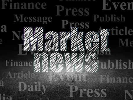 dirty room: News concept: Glowing text Market News in grunge dark room with Dirty Floor, black background with  Tag Cloud, 3d render