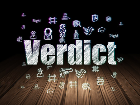 verdict: Law concept: Glowing text Verdict,  Hand Drawn Law Icons in grunge dark room with Wooden Floor, black background, 3d render