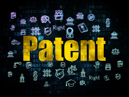cyber defence: Law concept: Pixelated yellow text Patent on Digital background with  Hand Drawn Law Icons, 3d render