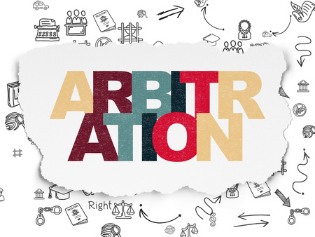 arbitration: Law concept: Painted multicolor text Arbitration on Torn Paper background with Scheme Of Hand Drawn Law Icons, 3d render
