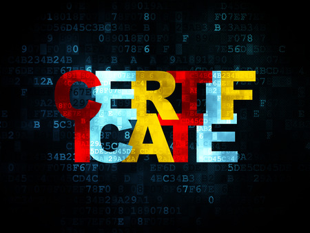 cyber defence: Law concept: Pixelated multicolor text Certificate on Digital background, 3d render