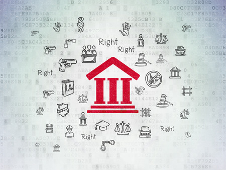 criminal act: Law concept: Painted red Courthouse icon on Digital Paper background with  Hand Drawn Law Icons, 3d render Stock Photo
