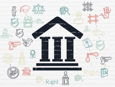 court process: Law concept: Painted black Courthouse icon on White Brick wall background with Scheme Of Hand Drawn Law Icons, 3d render