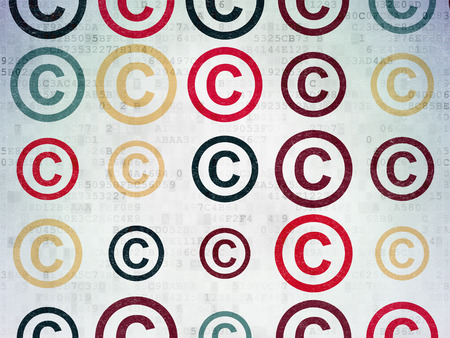 data protection act: Law concept: Painted multicolor Copyright icons on Digital Paper background, 3d render Stock Photo