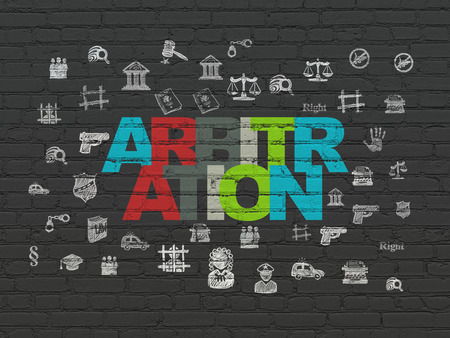 arbitration: Law concept: Painted multicolor text Arbitration on Black Brick wall background with  Hand Drawn Law Icons, 3d render Stock Photo