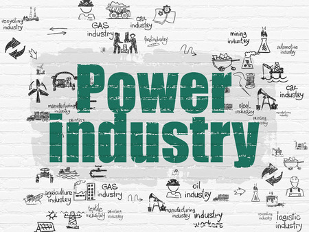 power industry: Industry concept: Painted green text Power Industry on White Brick wall background with Scheme Of Hand Drawn Industry Icons, 3d render Stock Photo