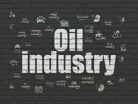 industry background: Manufacuring concept: Painted white text Oil Industry on Black Brick wall background with  Hand Drawn Industry Icons, 3d render
