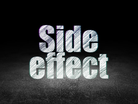 side effect: Medicine concept: Glowing text Side Effect in grunge dark room with Dirty Floor, black background, 3d render