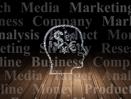 head tag: Advertising concept: Glowing Head With Finance Symbol icon in grunge dark room with Wooden Floor, black background with  Tag Cloud, 3d render