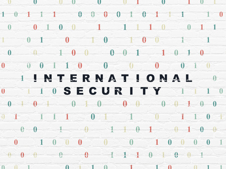 international security: Privacy concept: Painted black text International Security on White Brick wall background with Binary Code, 3d render Stock Photo