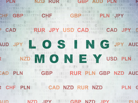 losing money: Currency concept: Painted green text Losing Money on Digital Paper background with Currency, 3d render Stock Photo