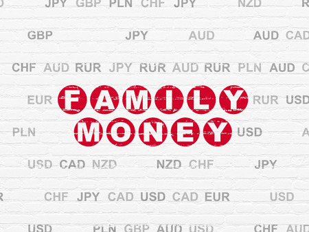 pay wall: Currency concept: Painted red text Family Money on White Brick wall background with Currency, 3d render