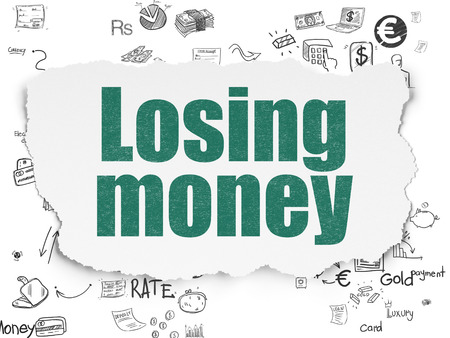 losing money: Banking concept: Painted green text Losing Money on Torn Paper background with Scheme Of Hand Drawn Finance Icons, 3d render
