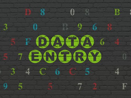 data entry: Data concept: Painted green text Data Entry on Black Brick wall background with Hexadecimal Code, 3d render