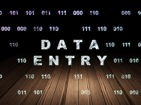 data entry: Data concept: Glowing text Data Entry in grunge dark room with Wooden Floor, black background with Binary Code, 3d render
