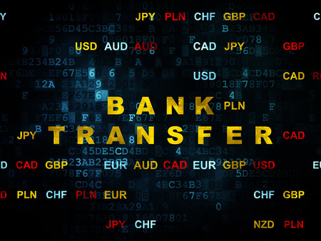bank overschrijving: Money concept: Pixelated yellow text Bank Transfer on Digital wall background with Currency, 3d render Stockfoto