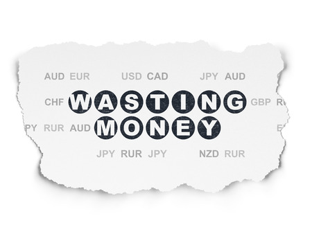 wasting: Banking concept: Painted black text Wasting Money on Torn Paper background with  Currency, 3d render