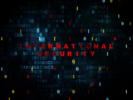international security: Privacy concept: Pixelated red text International Security on Digital wall background with Binary Code, 3d render