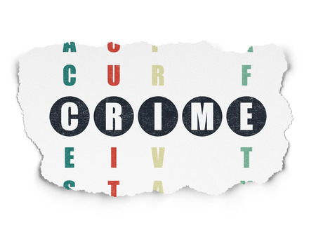 crime solving: Privacy concept: Painted black word Crime in solving Crossword Puzzle on Torn Paper background, 3d render