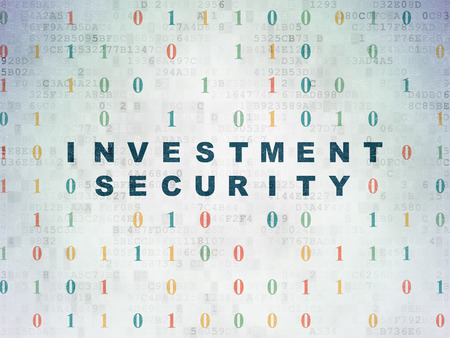 investment security: Privacy concept: Painted blue text Investment Security on Digital Paper background with Binary Code, 3d render Stock Photo