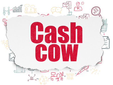 cash cow: Finance concept: Painted red text Cash Cow on Torn Paper background with Scheme Of Hand Drawn Business Icons, 3d render