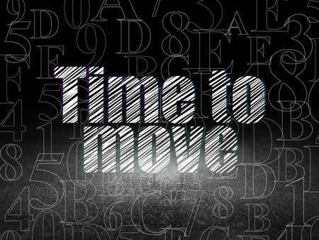 move in: Timeline concept: Glowing text Time to Move in grunge dark room with Dirty Floor, black background with  Hexadecimal Code, 3d render Stock Photo