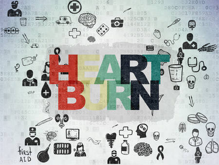 heartburn: Medicine concept: Painted multicolor text Heartburn on Digital Paper background with Scheme Of Hand Drawn Medicine Icons, 3d render