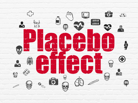 placebo: Health concept: Painted red text Placebo Effect on White Brick wall background with  Hand Drawn Medicine Icons, 3d render Stock Photo