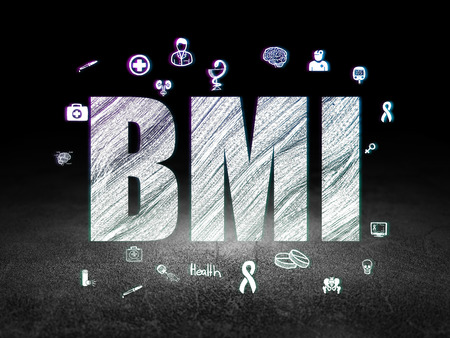 bmi: Health concept: Glowing text BMI,  Hand Drawn Medicine Icons in grunge dark room with Dirty Floor, black background, 3d render