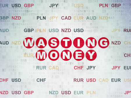 wasting: Banking concept: Painted red text Wasting Money on Digital Paper background with Currency, 3d render Stock Photo