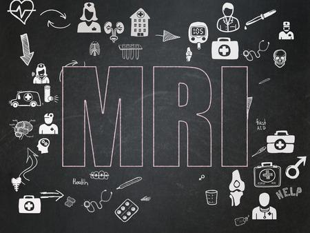 healing process: Medicine concept: Chalk Pink text MRI on School Board background with Scheme Of Hand Drawn Medicine Icons, 3d render