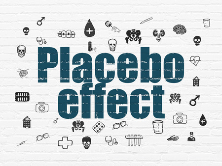 placebo: Healthcare concept: Painted blue text Placebo Effect on White Brick wall background with  Hand Drawn Medicine Icons, 3d render