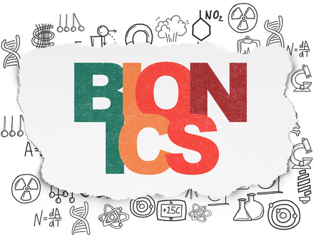 bionics: Science concept: Painted multicolor text Bionics on Torn Paper background with  Hand Drawn Science Icons, 3d render