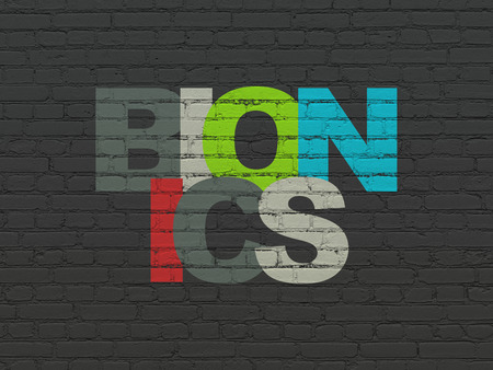 bionics: Science concept: Painted multicolor text Bionics on Black Brick wall background, 3d render