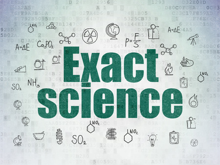 exact science: Science concept: Painted green text Exact Science on Digital Paper background with  Hand Drawn Science Icons, 3d render