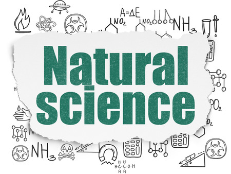 natural science: Science concept: Painted green text Natural Science on Torn Paper background with  Hand Drawn Science Icons, 3d render